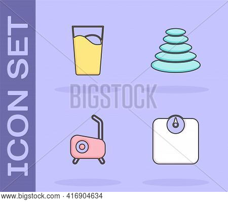Set Bathroom Scales, Glass With Water, Stationary Bicycle And Stack Hot Stones Icon. Vector