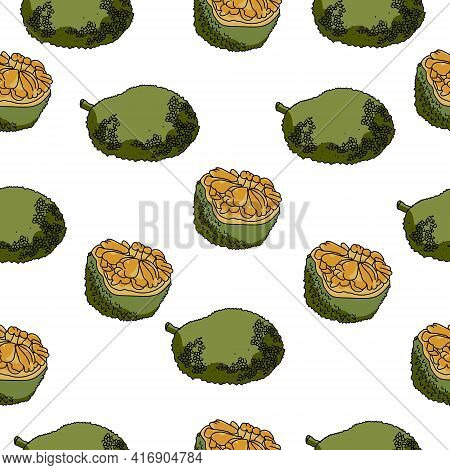 Jackfruit Seamless Pattern, Juicy Fruit Whole And Half On A White Background Vector Illustration