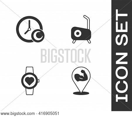 Set Bodybuilder Muscle, Time To Sleep, Smart Watch And Stationary Bicycle Icon. Vector