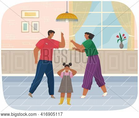 Problems And Conflict In Family, Fight And Arguing, Quarreling Over Child In Family. Angry Parents