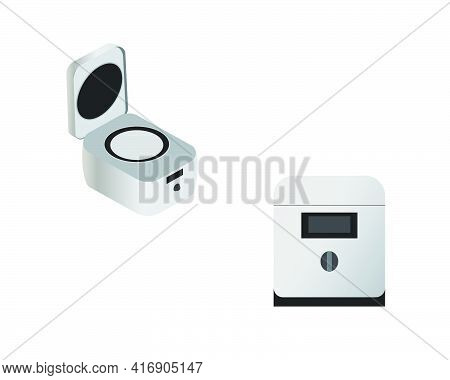 A Vector Of Smart Rice Cooker With Flat And Isometric Shape On White Background. Rice Cooker Is Part