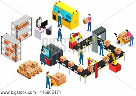 Process Of Transporting Goods, Parcels. Buying Gears From Online Store. Worldwide Sales Concept