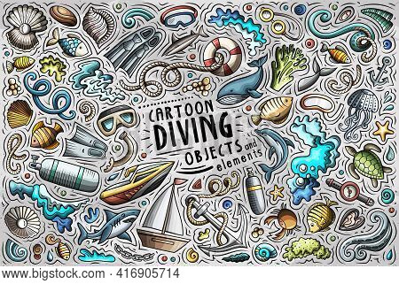Cartoon Set Of Diving Theme Items, Objects And Symbols