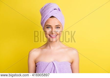 Close-up Portrait Of Charming Cheerful Naked Girl Wearing Nourishing Patches Isolated Over Vibrant Y