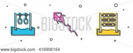 Set Gymnastic Rings, Kite And Tic Tac Toe Game Icon. Vector