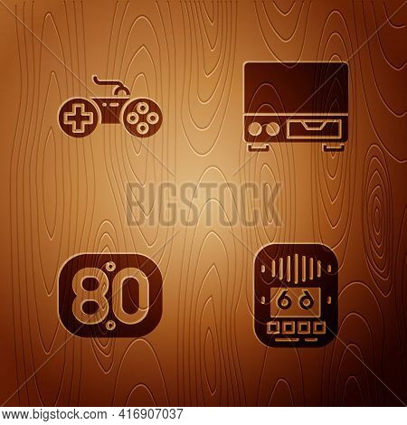 Set Cassette Tape Player, Gamepad, 80s Retro And Old Video Cassette On Wooden Background. Vector
