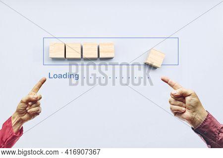 Loading, Pointing Progress Bar Filling With Wooden Cubes. Unloading Progress. Loading Status