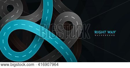 Right Way. Vector Highway Roads With Main Blue Road Top View Modern Illustration. City Route Unction