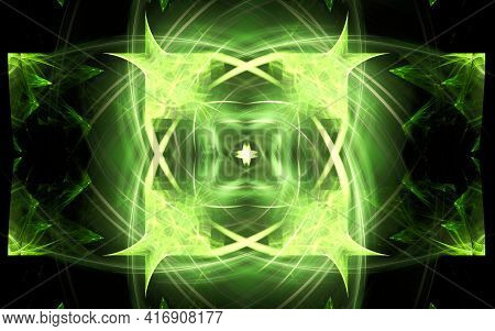 Digital Illustration Abstract Image Generated From Fractal Fantastic Flower With Petals