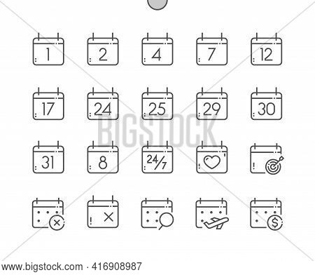 Calendar With Numbers. Today, Payday, Search Data, Schedule. Calendar With Cross Marks And Heart. Pi