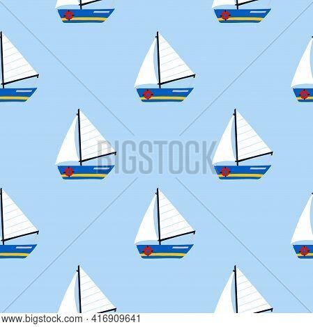 Sailing Yacht Seamless Pattern. Cartoon Hand Drawn Colorful Sail Childish Collection, Water Transpor