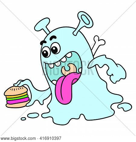 Hungry Monsters Brought Hamburgers To Eat, Doodle Draw Kawaii. Vector Illustration Art