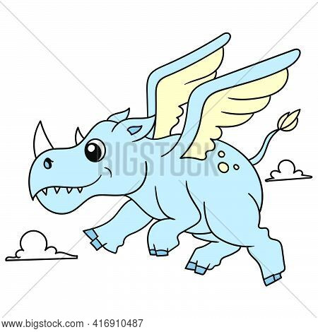 The Fat Winged Rhino Flew Around The Sky, Doodle Draw Kawaii. Vector Illustration Art