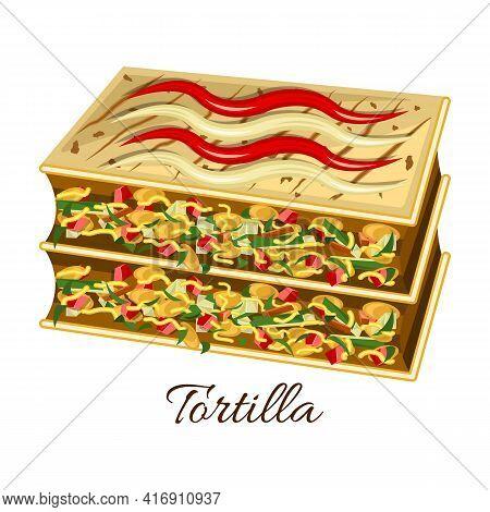 Tortilla Vector Icon.cartoon Vector Icon Isolated On White Background Tortilla.