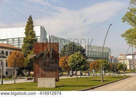 Burgos, Spain - April 9, 2021: Museum Of Human Evolution Complex In Burgos Spain