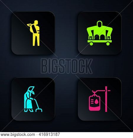 Set Iv Bag, Human Broken Arm, Grandmother And Man Without Legs Sitting Wheelchair. Black Square Butt