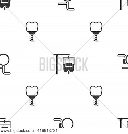 Set Wheelchair, Iv Bag And Dental Implant On Seamless Pattern. Vector