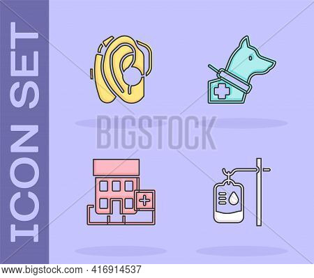 Set Iv Bag, Hearing Aid, Medical Hospital Building And Guide Dog Icon. Vector