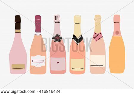 Six Sparkly Wine Bottles. Rose Wine Vector Set. Empty Labels For Text. Flat And Line Trendy Design.