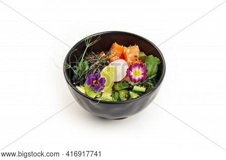 Poke With Salmon In A Bowl. Ingredients Fresh Salmon, Avocado, Cucumber, Rice, Tamarind Sauce, Mango