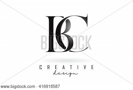 Bc B C Letter Design Logo Logotype Concept With Serif Font And Elegant Style. Vector Illustration Ic