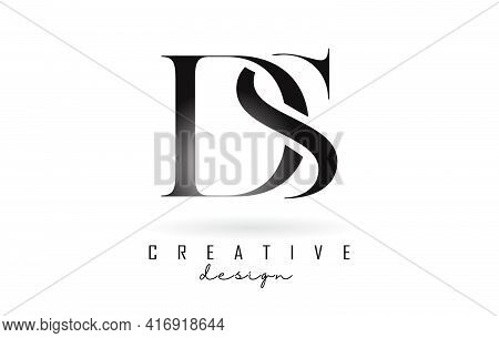 Ds D S Letter Design Logo Logotype Concept With Serif Font And Elegant Style. Vector Illustration Ic