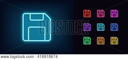 Neon Floppy Disk Icon. Glowing Neon Diskette Sign, Outline Memory Pictogram In Vivid Colors. Online