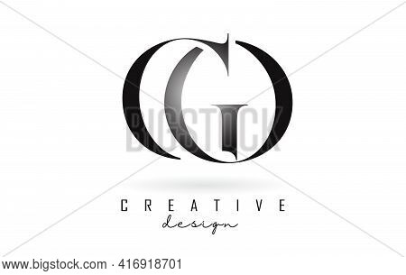 Go G O Letter Design Logo Logotype Concept With Serif Font And Elegant Style. Vector Illustration Ic