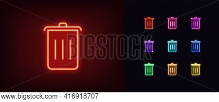 Neon Trash Can Icon. Glowing Neon Dustbin Sign, Outline Garbage Pictogram In Vivid Colors. Trash Buc
