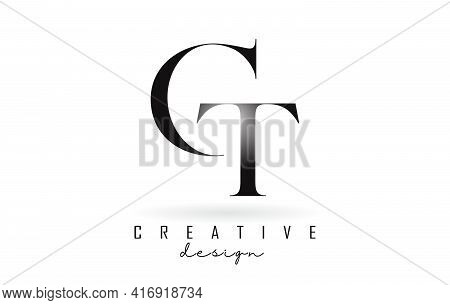 Ct C T Letter Design Logo Logotype Concept With Serif Font And Elegant Style. Vector Illustration Ic