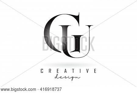 Cu C U Letter Design Logo Logotype Concept With Serif Font And Elegant Style. Vector Illustration Ic