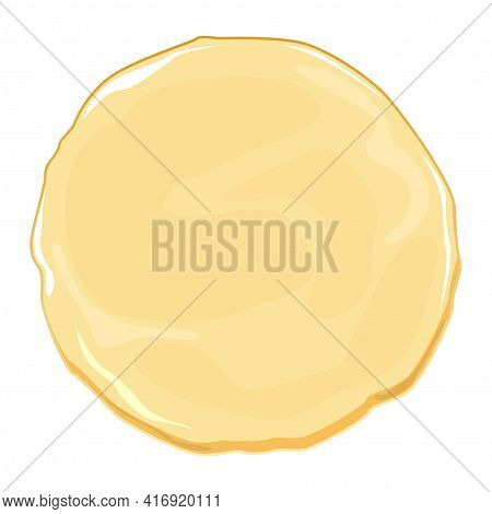 Pizza Dough Is About Collecting Pizza. Raw For Cooked Dough, Cartoon Vector