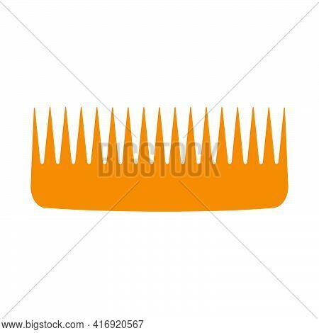 Vector Hair Comb Beauty Icon Hairdresser Isolated White Illustration. Salon Barber Hair Comb Fashion