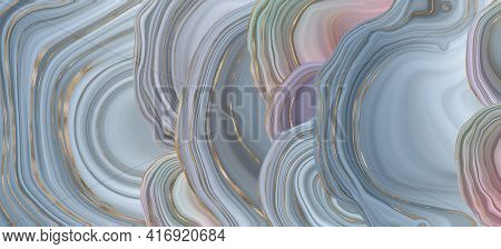 Agate Stone Texture With Gold. Blue Grey Fluid Marbling Effect With Gold Vein. Horisontal Abstract A
