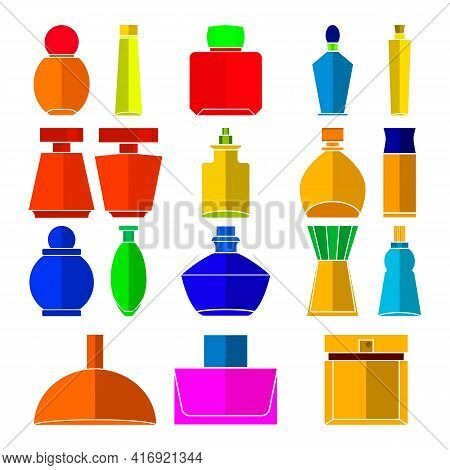 Perfume Icon Set. Flat Colored Set Of Perfume Bottles Vector Icons For Web Design. Clipart And Drawi