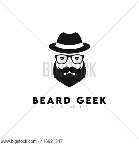 Beard Geek With Glasses And Hat Logo Design Symbol Template Flat Style Vector Illustration