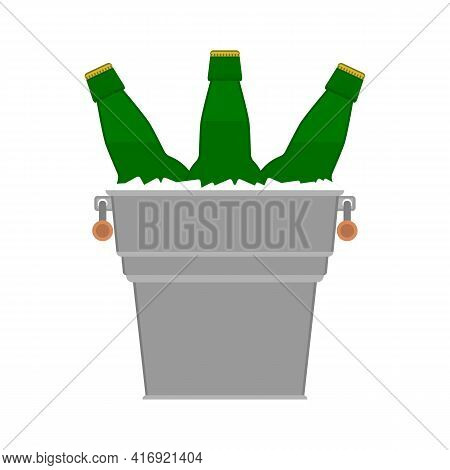 Bottles Beer Icon. Glass Bottles Of Beer In A Metal Bucket With Ice Cubes On White Background. Light