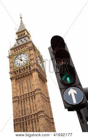Big Ben with green traffic light