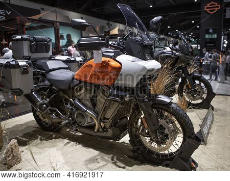 Bangkok, Thailand - April 4, 2021: Harley Davidson Pan America Exhibited In Bangkok International Mo
