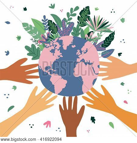 Happy Earth Day. Vector Eco Illustration For A Social Poster, Banner Or Map On The Theme Of Saving T