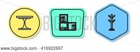 Set Line Round Table, Shelf With Books And Coat Stand. Colored Shapes. Vector