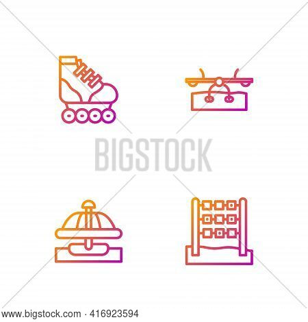 Set Line Tic Tac Toe Game, Attraction Carousel, Roller Skate And Seesaw. Gradient Color Icons. Vecto