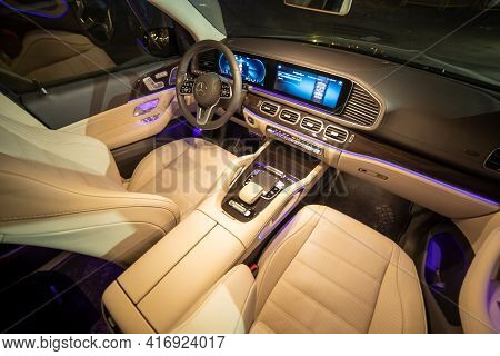 Moscow, Russia - December 24, 2019: Empty Interior Of Light Leather Interior Of Premium Suv Mercedes