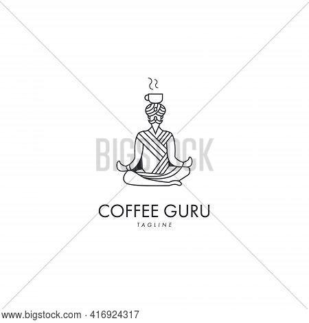 Coffee Guru Logo Symbol Design Template Flat Style Vector