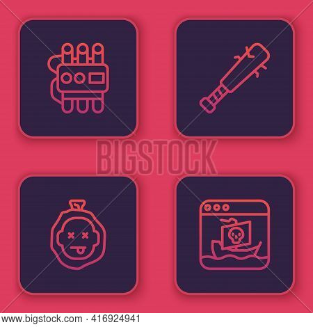 Set Line Dynamite And Timer Clock, Murder, Baseball Bat With Nails And Internet Piracy. Blue Square