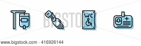 Set Line Separated Toilet For Disabled, Iv Bag, Prosthesis Hand And Identification Badge Icon. Vecto