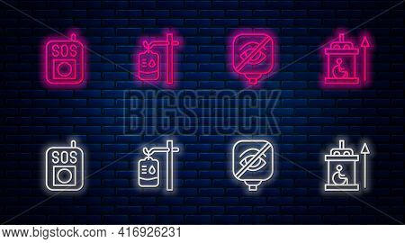 Set Line Iv Bag, Blindness, Press The Sos Button And Elevator For Disabled. Glowing Neon Icon On Bri
