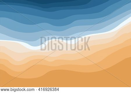 Top View Of The Blue Sea And Sandy Beach. Ocean Waves. Abstract Stylish Background With Tropical Coa