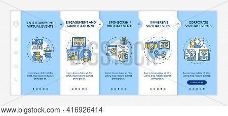Remote Events Kinds Onboarding Vector Template. Responsive Mobile Website With Icons. Web Page Walkt