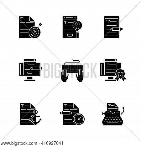 Writing Seo Text Black Glyph Icons Set On White Space. Urgent Copywriting Services. Professional Jou
